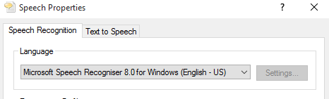 Speech recognition settings example configuration