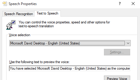 Text to speech settings example configuration